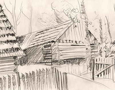 Drawing in the open-air Museum of architecture