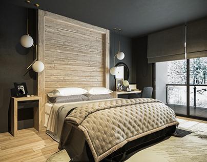 Bedroom in cottage| Lviv | WhiteLineDesign