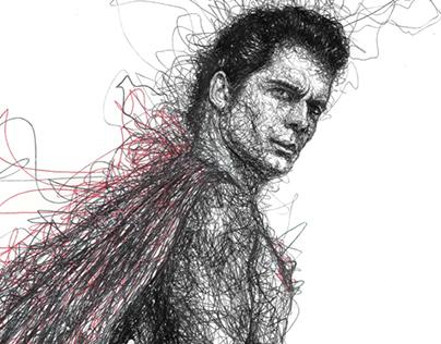 Man of Steel (Scribbles) Pen Art