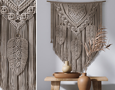 Decorative Set With Wall Hanging Macrame