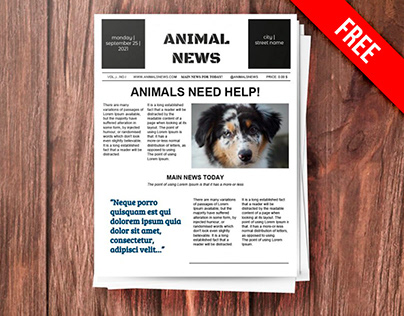 Animal Newspaper - free Google Docs Template