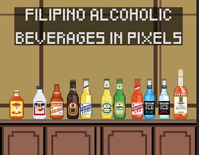 Filipino Alcoholic Beverages in 16bit Pixel Art