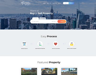 Property website landing page design