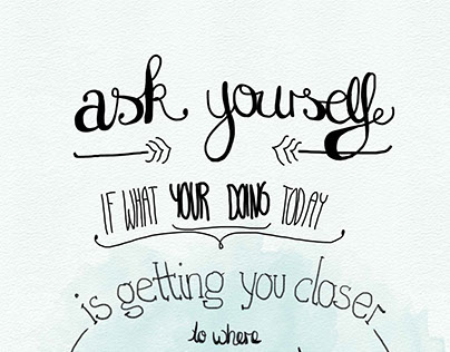 """Handlettering """"Ask yourself"""""""