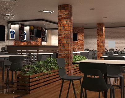 Interior de restaurante bar deportivo