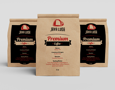 Coffee label design for Java Lush