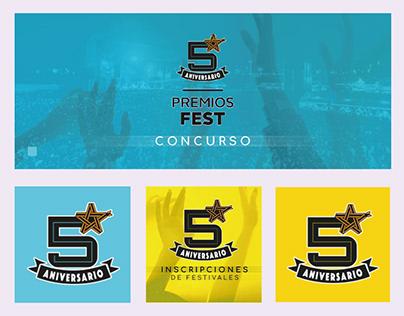identidad visual para RRSS 5° Aniversario Premios Fest
