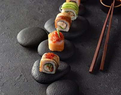 Retouch for sushi. Removed defects and correct color.