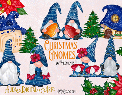 Cute Blue Gnomes Christmas Clipart