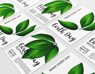 EARTH DAY foliage vector set