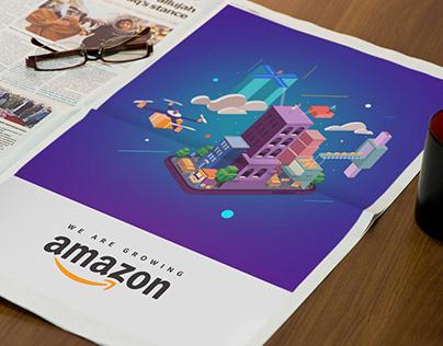 Amazon Isometric Illustration | Newspaper Concept Ad