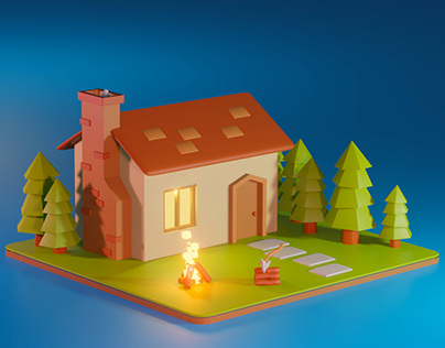 Low Poly Forester House.