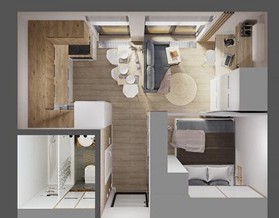 Smart apartment 24 sq.m.