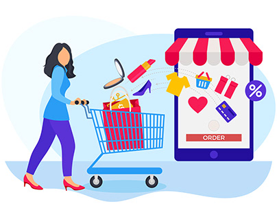 Woman ordering items from cart in online shopp website