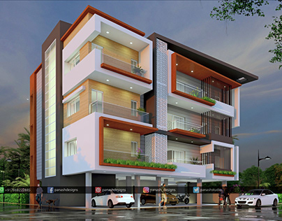 G + 3 Residential Building Elevation