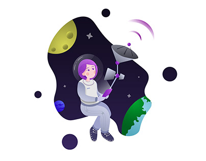 Space Girl Illustration