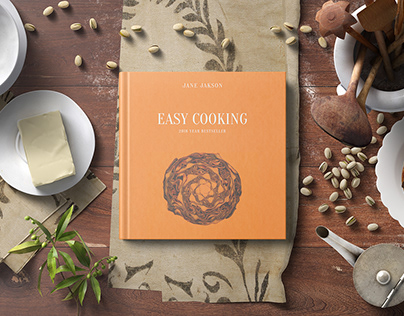 Square Cook Book Mockup - Kitchen Set