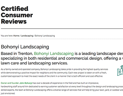 Bohonyi Landscaping on Certified Consumer Reviews