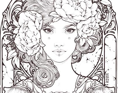 Flora Maiden (line art)