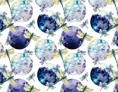 Watercolor drafonflies in space in mystic colors patter