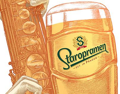 Illustration for the Staropramen beer brand