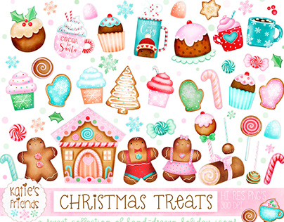 CHRISTMAS TREATS hand-drawn clipart collection