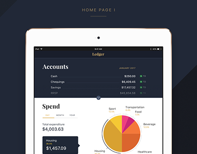 Vintage design for a  personal finance app Ledger