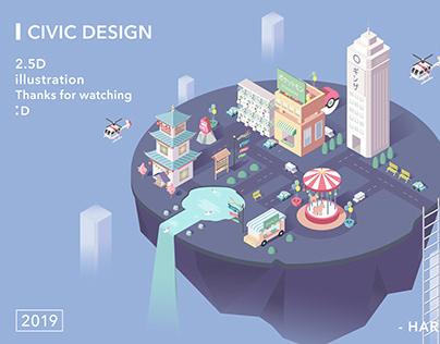 2.5D City Impression Illustration