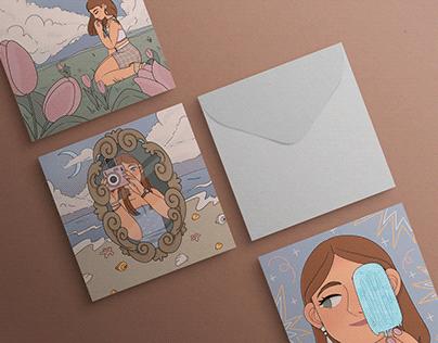 Illustrations for summer postcards