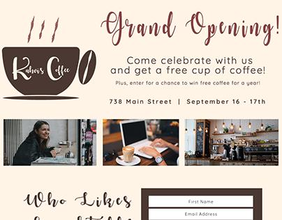 Kahvi's Coffee Landing Page Design