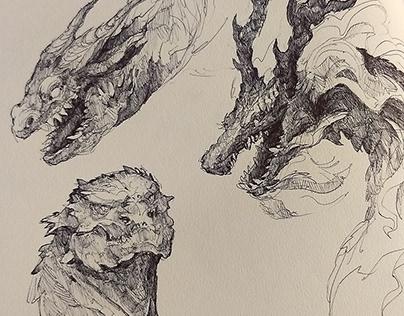 Sketchbook - Dragon heads