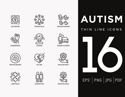 Autism | 16 Thin Line Icons Set