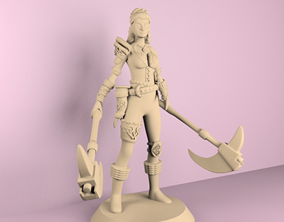 medieval female miniature for 3D print