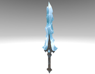 Ice Hearted Sword - second stage - low-poly game asset