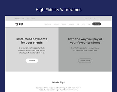 Payment website wireframes