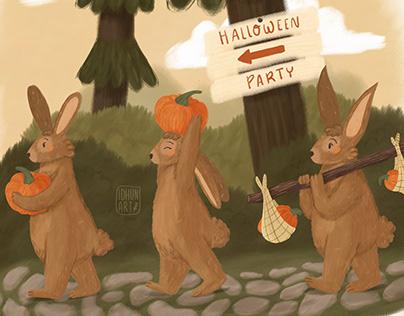 Bunnies with pumpkins