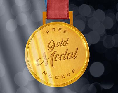 Free Sports Gold Medal Mockup PSD