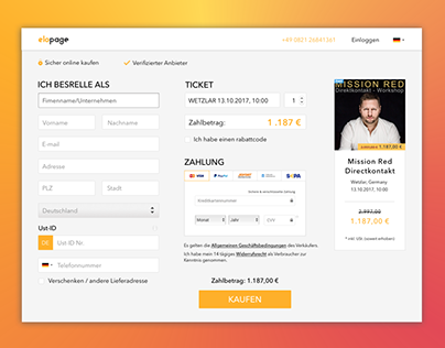 Responsive WEB of payment page of Elopage company