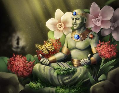 Calm Statuary - Card Illustration