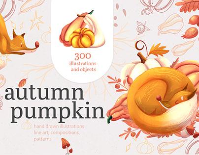 Autumn pumpkin & fox clipart, pattern design