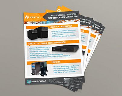 Flyer Vertiv para Microcom