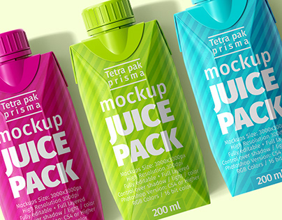 Tetra Pak. Prisma Pack (200 ml) Mock-Ups
