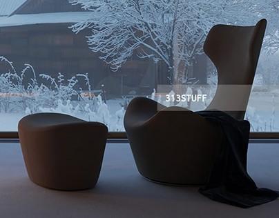 3d model of B&B Italia Grande Papilio chair