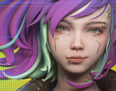 Cyberpunk A stylized character