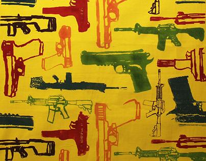 Gun Pattern Silkscreened Fabrics