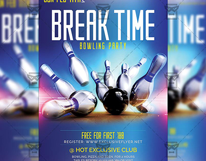 Break Time Flyer - Bowling A5 Template