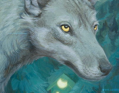 Wolf and us: a wildlife painting