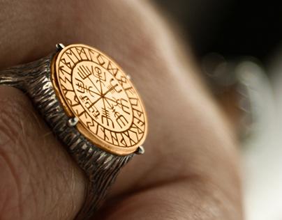 Vegvisir ring, runes ring -Tyvodar .com
