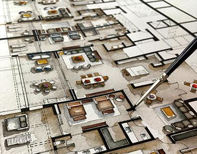 Real Estate Watercolor 2D Floor Plans Part 6
