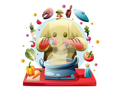 Chef Pouring Spices To The Pan Illustration